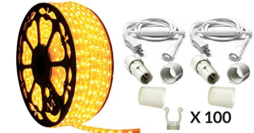 (Dimmable Amber LED Rope Light Premium Kit, 120 Volts, Full 360 Degrees LED 513PRO Diode, 150ft/Roll, Commercial Grade Indoor/Outdoor Rope Light, IP65 Waterproof)