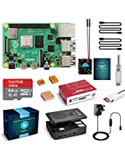 LABISTS Raspberry Pi 4 Starter Kit Pro (4G RAM)- 64GB SD Card with Noobs Preinstalled, Cooling Fan, Micro HDMI Cable x 2, Black Case Special Designed for Pi 4B