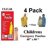 "4 VAS Childrens 40"" X 60"" Emergency Child / Kid Rain Poncho - CLEAR"