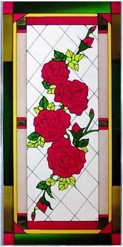 """Red Roses 20.5"""" Wide x 42"""" High Hand Painted Art Glass Panel"""