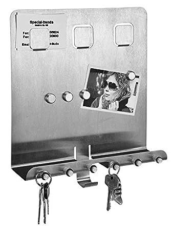Edelstahl Schlüsselbrett mit Magnettafel - Schlüsselboard: Amazon.de ...