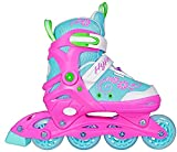 Hype Inline Skates for Girls with Adjustable Sizing Sherbet Kids in-line roller skate blades | Comfortable fit | Safety non-slip wheels | Made for Fun (Blue/Pink) (Small (J11-1))