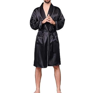 Bata de Baño para Hombre, Pijamas de Estilo Kimono Ropa de Noche Conjunto Silk Bathrobe: Amazon.es: Ropa y accesorios