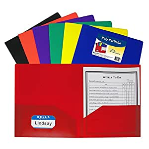 C-Line Two-Pocket Heavyweight Poly Portfolio, For Letter Size Papers, Includes Business Card Slot, Assorted Colors, 36 pack (33950)