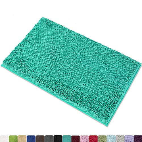 MAYSHINE Non-Slip Bathroom Rug Shag Shower Mat Machine-Washable Bath Mats with Water Absorbent Soft Microfibers, 20 x 32 Inches, Turquoise (Bathroom Rugs Microfiber)