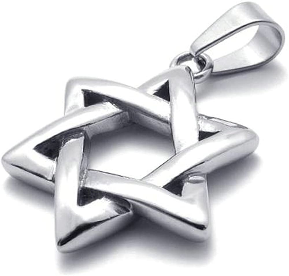 Jonline24h Polished Stainless Steel Necklace Lucky Star of David Pendant - Silver, 18-28inches Chain