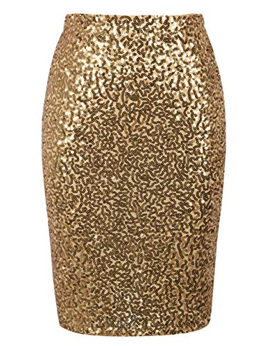 - 51cERf C 2BGL - PrettyGuide Women's Sequin Skirt High Waist Sparkle Pencil Skirt Party Cocktail