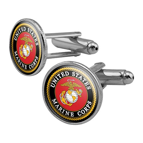 Marines USMC Emblem Black Yellow Red Officially Licensed Round Cufflink Set Silver Color