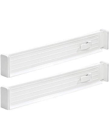 mDesign Juego de 2 divisores de cajones estrechos – Separadores de cajones extensibles para ajustarlos a
