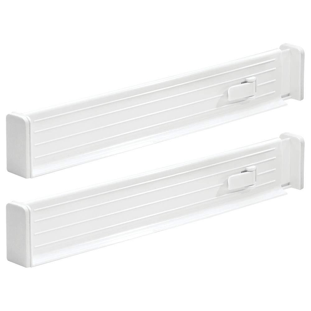 mDesign 4er-Set Schubladen-Organizer dank verstellbarer Trennelemente Schublade organisieren wei/ß Schubladeneinsatz f/ür K/üchen- /& Schlafzimmerschubladen
