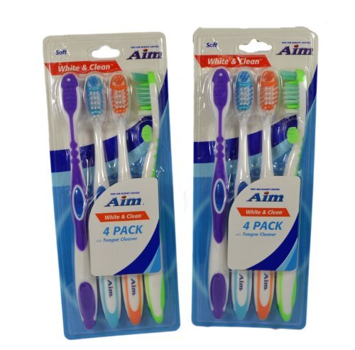 AIM 2 Four Packs White & Clean Soft Toothbrushes