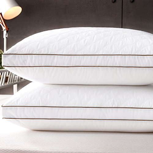 Casaottima Bed Pillows For Sleeping King Size 2 Pack Hotel Bedding Soft Support Dust Mite Resistant Gusseted Quilted Hypoallergenic Cotton Fiber