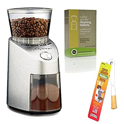 Capresso 565 Infinity Stainless Steel Conical Burr Grinder + Coffee Grinder Dusting Brush + Urnex Full Circle Biodegradable Coffee Grinder Cleaning Tablets from Capresso