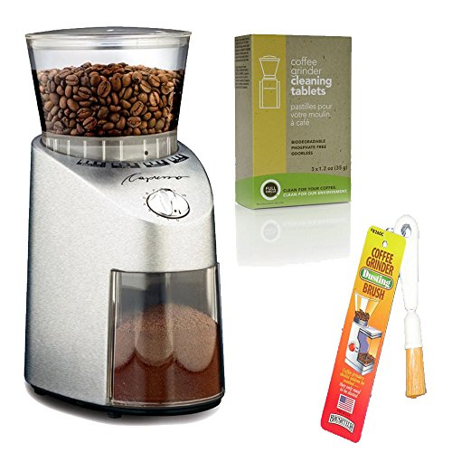 Capresso 565 Infinity Stainless Steel Conical Burr Grinder + Coffee Grinder Dusting Brush + Urnex Full Circle Biodegradable Coffee Grinder Cleaning Tablets by Capresso