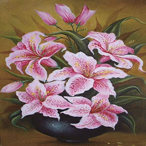 - Yeefant Diamond Painting Kits for Adults, Pink Lily Flower 5D DIY Rhinestone Embroidery Cross Stitch Paintings Full Drill by Number Sets for Home Livingroom Bedroom Wall Decor Artcraft-12x10inch