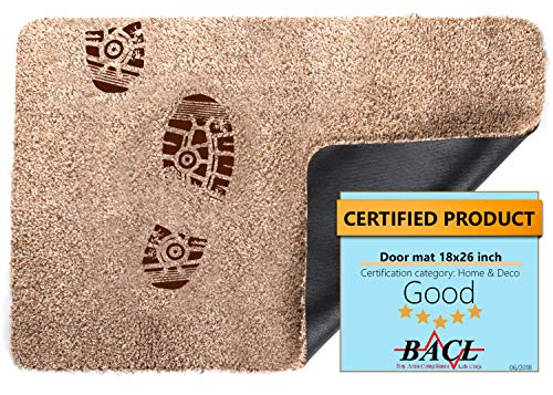 (BRICOVEO Welcome Doormat Front Entry– Indoor Doormat 18x26 inch – Waterproof – Ultra Thin Doormat with Non Slip Backing – Easy Clean – Ideal for Home, Garage, Workplace )