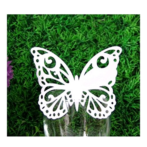 Kuke 50Pcs Laser Cut Australia Butterfly Table Name Place Cards Wine Glass Wedding Party Decoration (White)