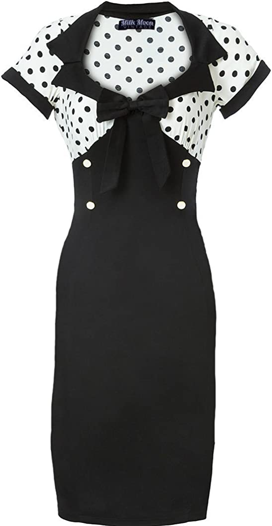 Vintage Dress 1950s 1960s Bodycon Wiggle Sleeve Black Polka Dot Size UK 6 26