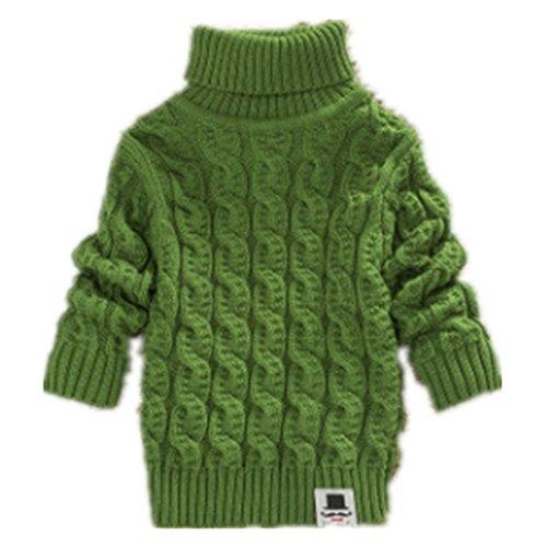 - Boys Girls Turtleneck Sweaters Soft Warm Children's Sweater (3-4 years, green)