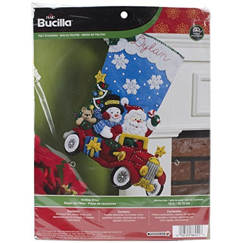 Bucilla Holiday Drive Christmas Stocking Felt Applique Kit, 86451 18-Inch by Bucilla