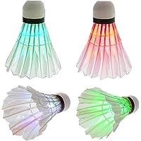 LED Badminton Colorful Goose Feather Shuttlecock Dark Night Glow Birdies Lighting for Outdoor Indoor Sports Activities…