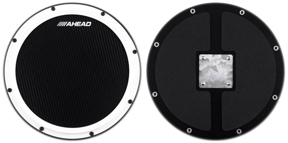 Ahead S-Hoop Marching Practice Pad with Snare Sound Black, Black 14 in. AHSHPB