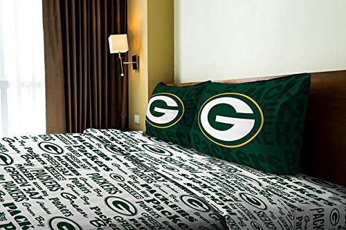 Green Bay Packers - Full Size - Team Colored Anthem Sheet Set - Set Includes: (1 Full Size Flat Sheet, 1 Full Size Fitted Sheet, 2 Pillow Cases) SAVE BIG - Sheet Packers Bay Set Green