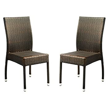 Safavieh Patio Collection Newbury Wicker Stackable Outdoor Chairs, Brown, Set of 2