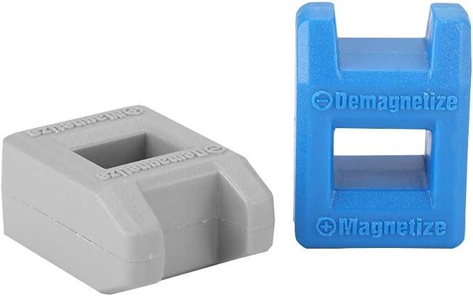 Zopsc - 2 Piezas de desmagnetizador magnético 2 en 1 para Puntas de Destornillador de Bolsillo, Herramienta de Mano con Alta Seguridad para Puntas de Destornillador y Puntas (Azul y Gris): Amazon.es: Electrónica