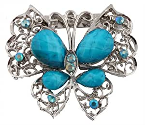 Ladies Silvertone with Blue Butterfly Brooch & Pin Pendant with Pear Shape Stones