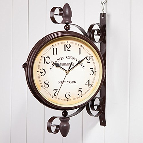 WOOCH Wrought Iron Antique-Look Brown Round Wall Hanging - Vintage Antique Hanging Clock