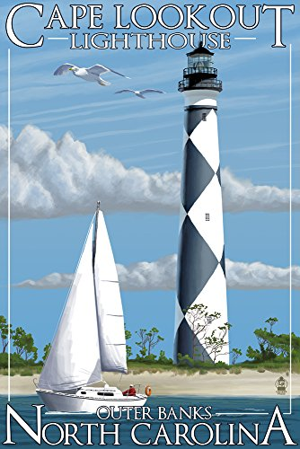 Outer Banks, North Carolina - Cape Lookout Lighthouse (9x12 Art Print, Wall Decor Travel Poster)