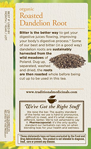 032917001658 - Traditional Medicinals Organic Roasted Dandelion Root Tea, 16 Tea Bags (Pack of 6) carousel main 3