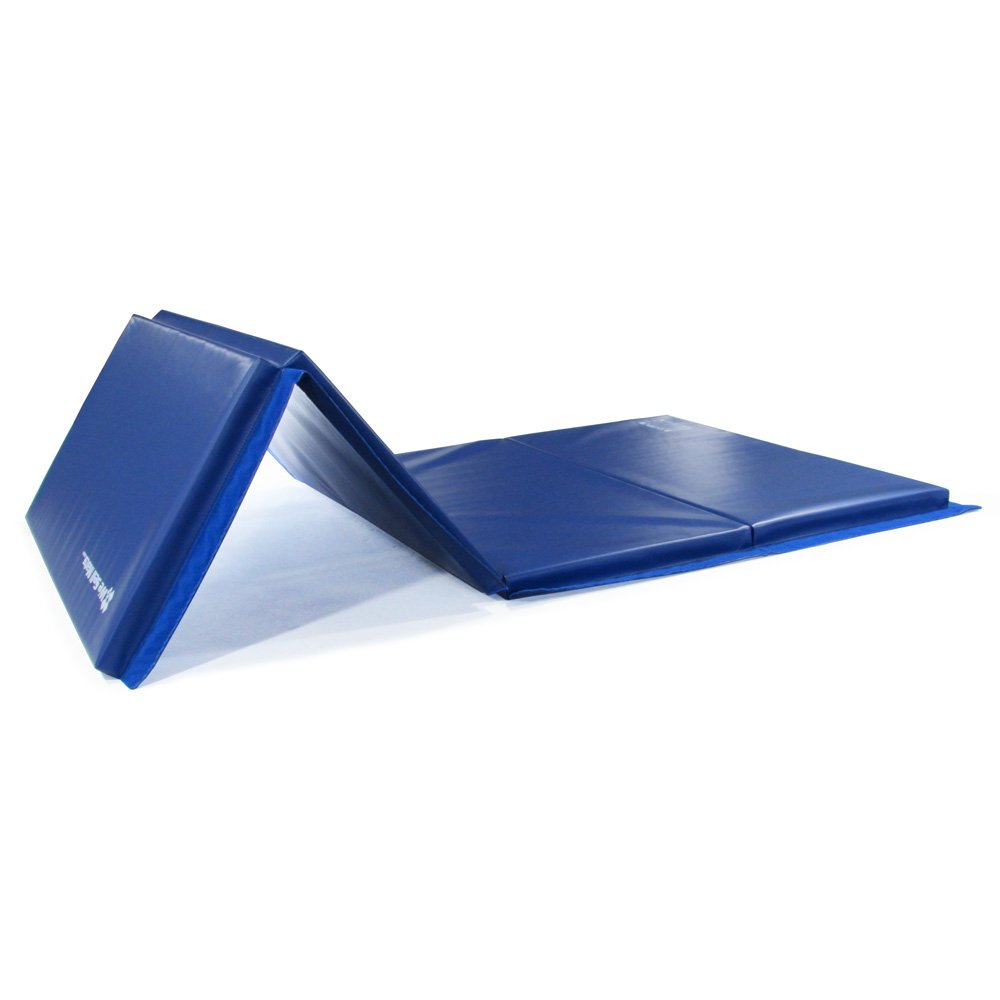 We Sell Mats GM4x8BLv4-35M Blue 1.5'' Thick Gymnastics Tumbling Exercise Folding Martial Arts Mats with Hook & Loop Fasteners On 4 Sides Crosslink PE Foam Core by We Sell Mats (Image #3)