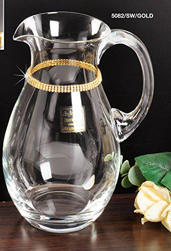 Italian Collection Crystal Pitcher, Decorated with Round Gold Swarovski Crystal, Lead Free ()
