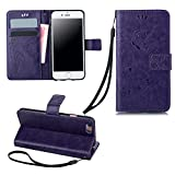 Valentoria® For iPhone 6plus Case, iPhone 6 5.5inch Case, Premium Vintage Emboss Butterfly Leather Wallet Pouch Case with Wrist Strap for iPhone 6plus (iPhone 6plus, Purple)