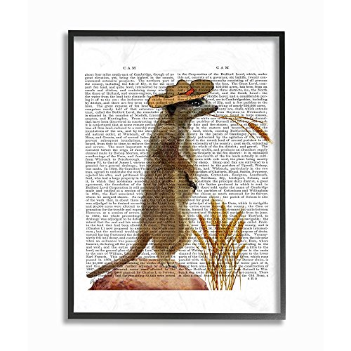 The Stupell Home Decor Collection Meerkat in A Cowboy Hat Book Page Framed Giclee Texturized Art, 16x20, Multicolor ()