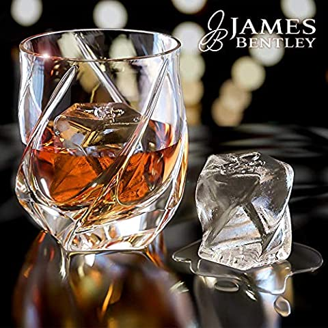 James Bentley VRIDE Scotch Glasses,Diamond Whiskey Glass,Bourbon Glasses Set+FREE Ice Cube Trays Silicone Heavy Unique…