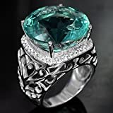 Fashion Women Jewelry 925 Silver Aquamarine Gemstone Wedding Bridal Gifts Ring (8)