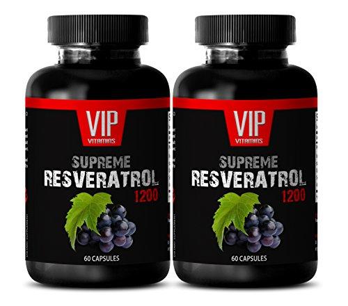 Natural Resveratrol Supplement - Premium Red Wine Extract 1200 - Maximum Strength Super Blend (2 Bottles 120 Capsules)