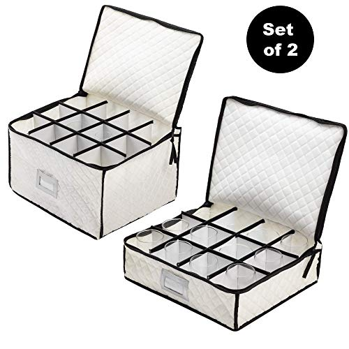 (Set of 2 Cups & Glasses Storage Case - #1 Best Protection Stemware Chest for Storing or Transporting Coffee Cups, Mugs, Wine & Champagne Flutes, Goblets, and More)