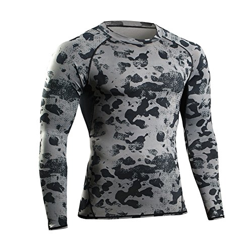 Prettywell Men's PRO Fitness Sports Fast Dry Breathable Stretch Shirt MA46 (M, Grey)