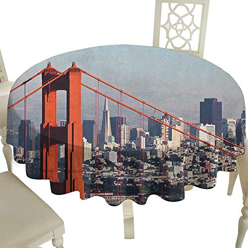 Floral Round Tablecloth 70 Inch United States,San Francisco Bridge and Cityscape Metropolis Financial District Orange Baby Blue White Great for,Holiday & More ()
