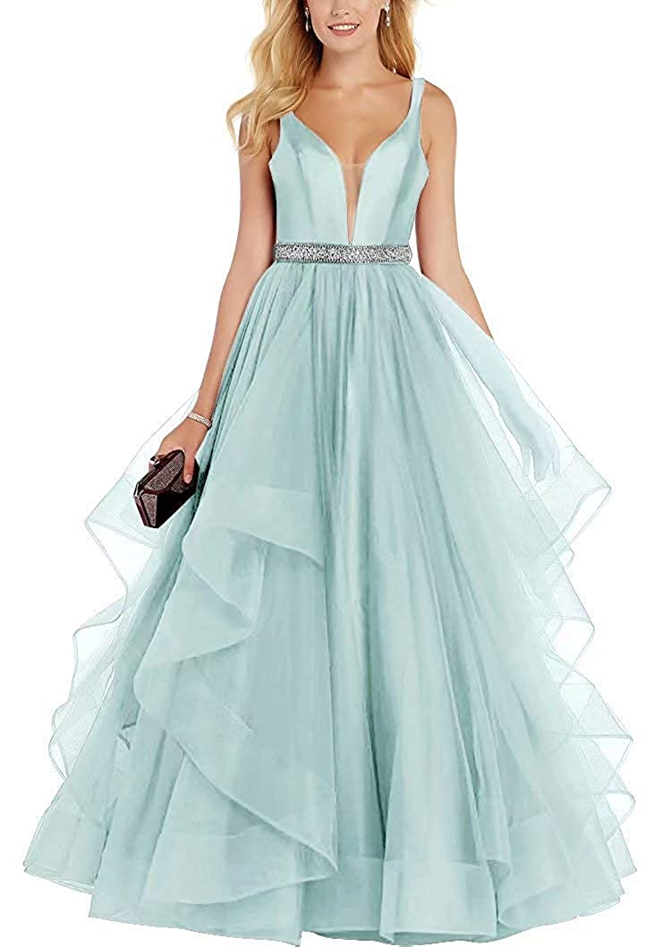 Light bluee ASBridal Prom Dress Long Evening Gowns with Crystal Belts Formal Prom Party Dresses Tulle Ruffles Backless 2019