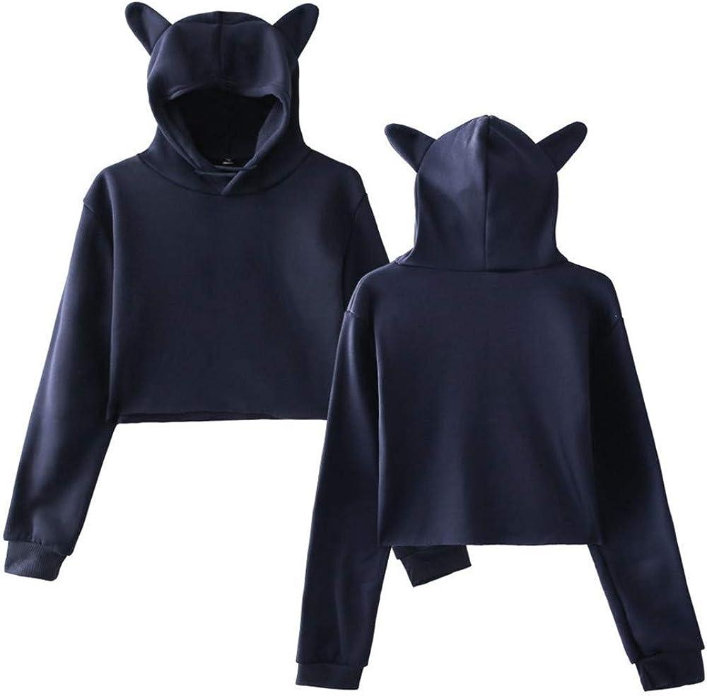 Cathalem Women Fashion Sport Casual Cute Print Cat Ear Hooded Long Sleeves Loose Crop Top Blouse Hoodies