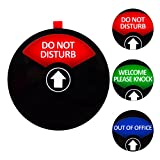 Privacy Sign, Do Not Disturb Sign, Out of Office Sign, Welcome Please Knock Sign, Office Sign, Conference Sign for Offices, 5 Inch, Black