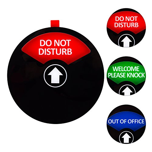 Kichwit Privacy Sign, Do Not Disturb Sign, Out of Office Sign, Welcome Please Knock Sign, Office Sign, 5 Inch, Black ()