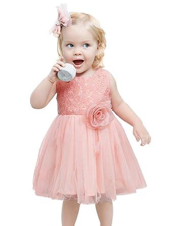 5b85c77c79762 Danna Belle Robe de Princesse Petite Fille Tulle Soie avec Une Fleur Devant  1 an DB000006-