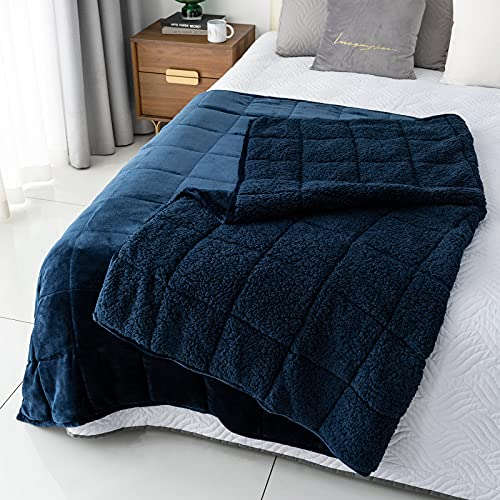 Kivik Sherpa Weighted Blanket for Adult 15 lbs,Cozy Plush Flannel Heavy Throw Blanket Full Size,Ultra Fuzzy Fleece Bed Blanket Thick Warm,Dual Sided 48