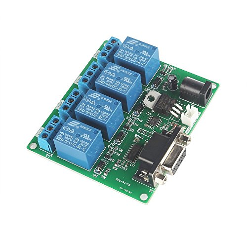 SainSmart 2-Channel RS232 Serial Control Relay Switch Board (4-Channel) (Relay Serial Board)